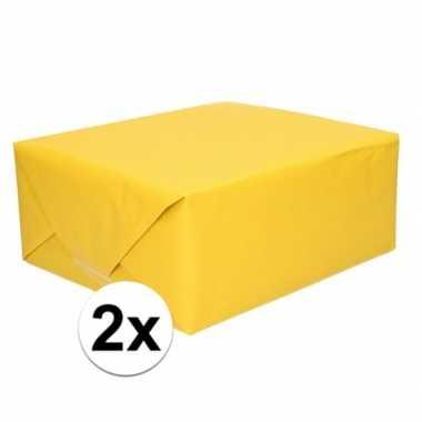 2x kaftpapier geel 70 x 200 cm kraftpapier