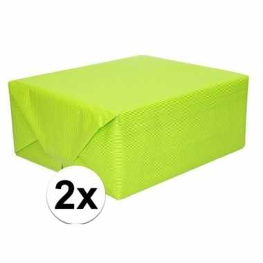 2x kaftpapier lime groen 70 x 200 cm kraftpapier