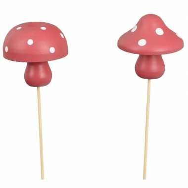 2x kerststukje instekertjes met houten paddenstoeltjes 31 cm