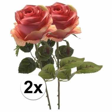 2x kunstbloemen steelbloem roze roos 45 cm