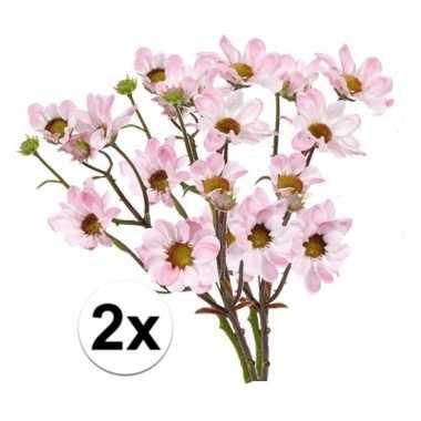 2x kunstbloemen tak licht roze margriet 44 cm