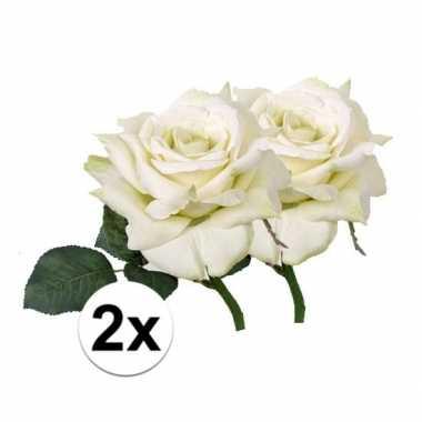 2x kunstbloemen witte roos 31 cm