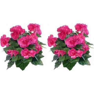 2x kunstplanten begonia roze 30 cm