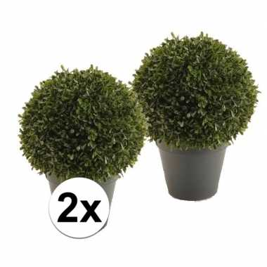 2x kunstplanten boxwood ball 35 cm