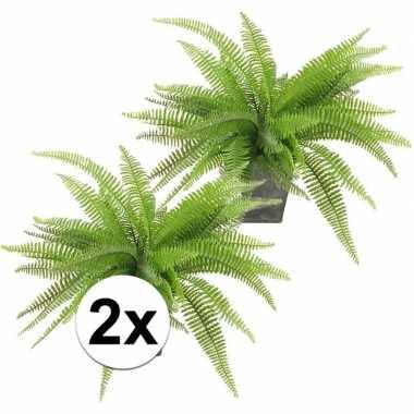 2x kunstplanten groen varen 33 cm in pot