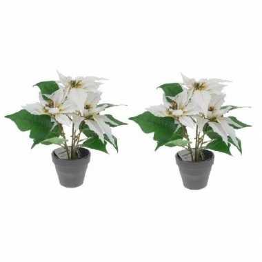 2x kunstplanten witte poinsettia bloem met pot 30 cm