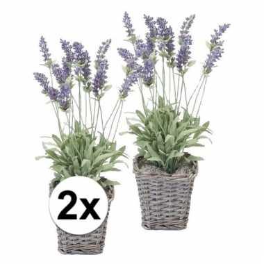 2x lavendel kunstplant 45 cm in mandje