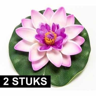 2x lila paarse kunst waterlelie kunstbloemen 10 cm decoratie