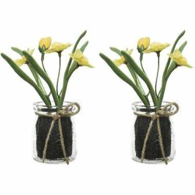 2x narcissus narcis kunstplanten geel 15 cm met glazen pot