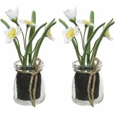 2x narcissus narcis kunstplanten wit/geel 15 cm met glazen pot