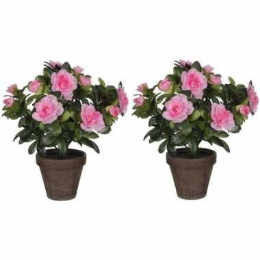 2x nep planten groene azalea kunstplanten met roze bloemen 27 cm met