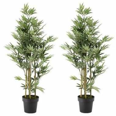 2x nep planten groene bamboe kunstplanten 125 cm met zwarte pot