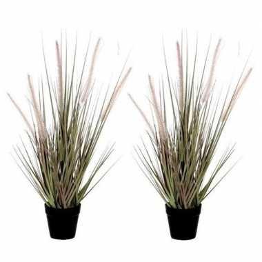 2x nep planten groene dogtail siergras kunstplanten 53 cm met zwarte