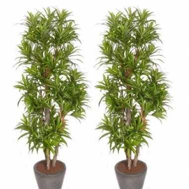 2x nep planten groene dracaena reflexa binnenplant, kunstplanten 120