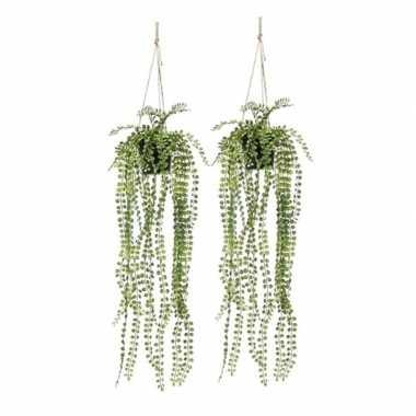 2x nep planten groene ficus pumila kunstplanten 60 cm met hangpot