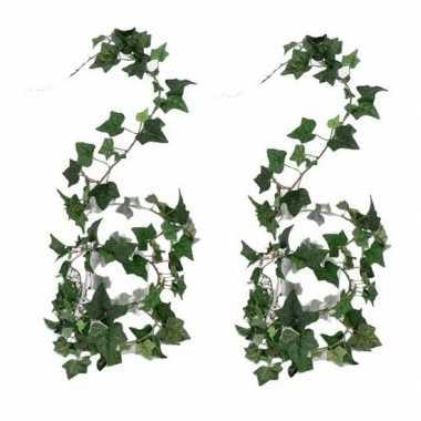 2x nep planten groene hedera helix klimop kunstplanten 180 cm