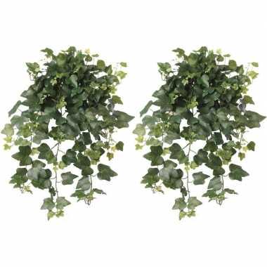 2x nep planten groene hedera helix klimop weerbestendige kunstplanten