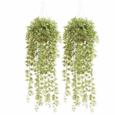 2x nep planten groene hedera/klimop kunstplanten 50 cm met hangpot