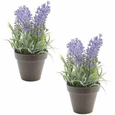 2x nep planten groene lavandula lavendel kunstplanten 17 cm met zwart