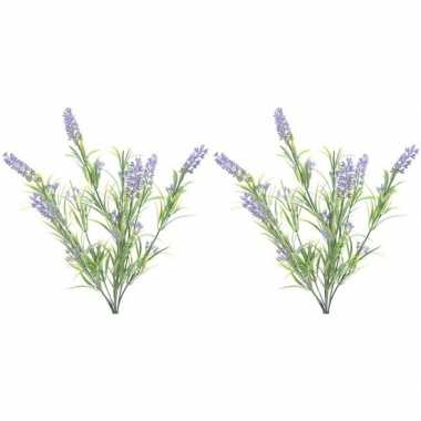 2x nep planten groene/lilapaarse lavandula lavendel kunstplanten 44 c
