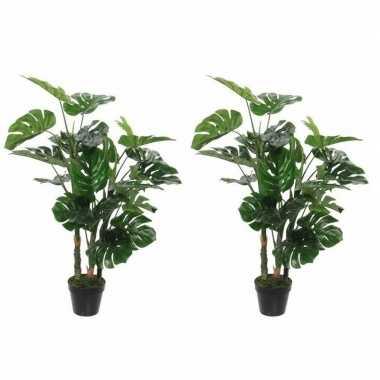 2x nep planten groene monstera/gatenplant kunstplanten 100 cm met zwa