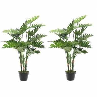2x nep planten groene philodendron monstera gatenplant kunstplanten 1