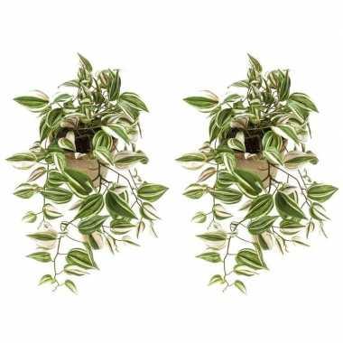 2x nep planten groene tradescantia/vaderplant kunstplanten 70 cm met
