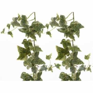 2x nep planten groene/witte hedera helix klimop hangplant kunstplante