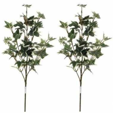 2x nep planten hedera klimop kunstbloemen takken 50 cm decoratie