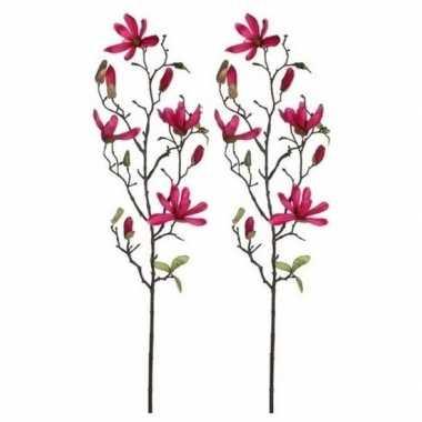 2x nep planten magnolia beverboom kunstbloemen takken 80 cm decoratie