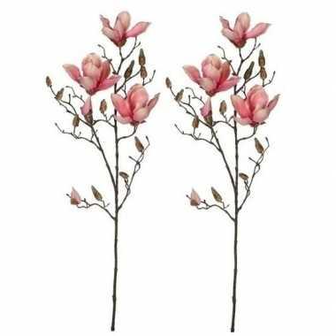 2x nep planten magnolia beverboom kunstbloemen takken 90 cm decoratie