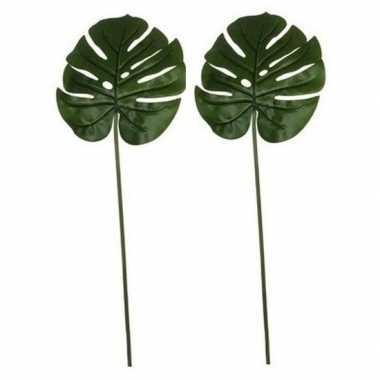 2x nep planten monstera gatenplant kunstbloemen takken 70 cm decorati