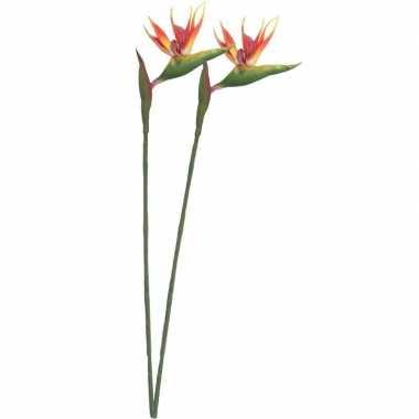 2x nep planten oranje/gele strelitzia paradijsvogelbloem kunstbloemen
