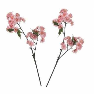 2x nep planten prunus serrulata kersenbloesem kunstbloemen takken 166