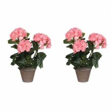 2x nep planten roze hortensia kunstplanten 40 cm met oranje bloemen e
