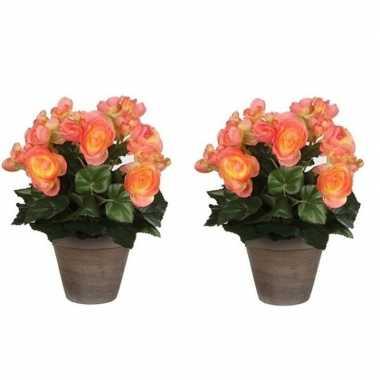 2x nep planten zalmroze begonia kunstplanten 30 cm met oranje bloemen