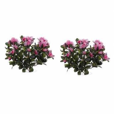 2x nepplanten roze azalea binnenplant kunstplanten 20 cm