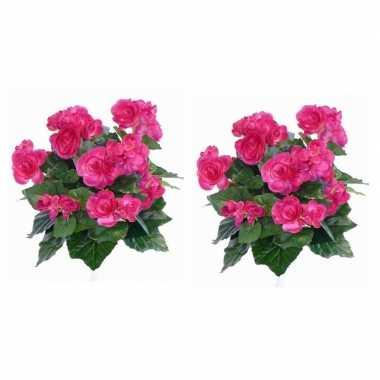 2x nepplanten roze begonia binnenplant kunstplanten 30 cm