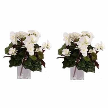 2x nepplanten witte begonia binnenplant, kunstplanten 30 cm