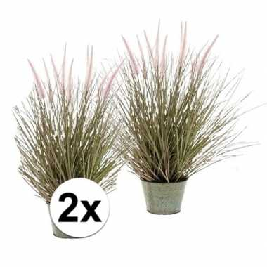 2x pennisetum grasplant kunstplant 58 cm met pot