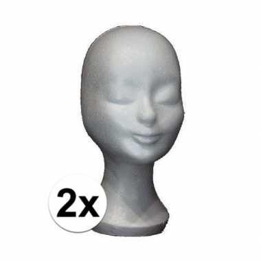 2x pruikenstandaard piepschuim 30 cm