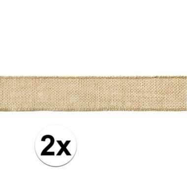 2x rol jute lint 5 x 500 cm cadeautjes verpakken