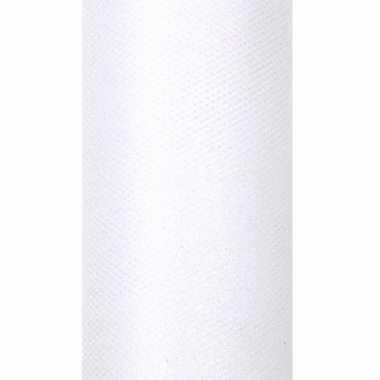 2x rollen witte tule stof met glitters 15 cm breed