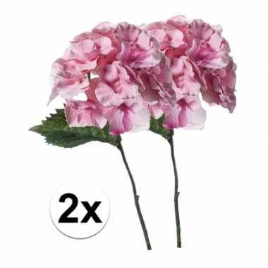 2x roze hortensia kunstbloem 28 cm