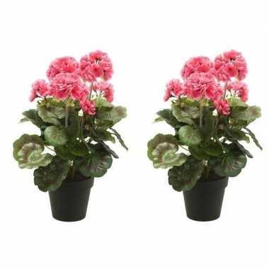 2x roze kunstplanten geranium plant in pot