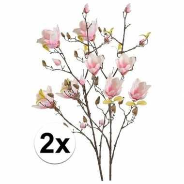 2x roze magnolia kunstbloem 105 cm