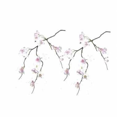 2x roze nep bloemen kersenbloesem takken van 83 cm
