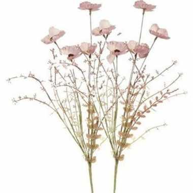 2x roze papaver/klaproosjes kunstbloemen takken 53 cm decoratie