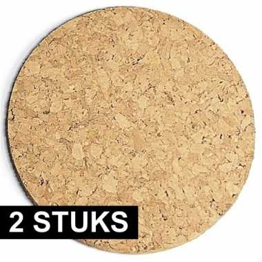 2x stuks kurk pannen onderzetters 20 cm
