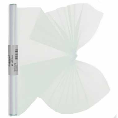 2x stuks organza tule stof wit 40 x 200 cm